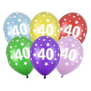 Bunte Ballons 40. Geburtstag Dunkel-Blau mit Zahlen