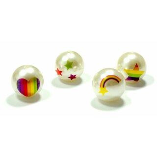 Weiße Perle mit Regenbogen-Motiven 20mm Einzeln