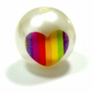 Weiße Perle mit Regenbogen-Herz 20mm Einzeln