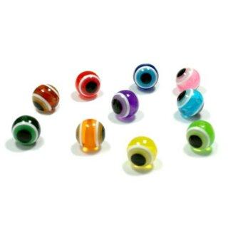 10 Göz Perlen 15mm Farbmix Rund/Türkischer Glücksbringer