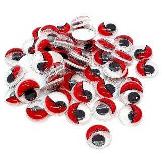 50 Selbstklebende Wackelaugen 12mm mit Wimpern Rot