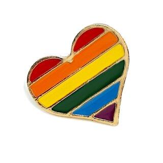 Regenbogen-Herz mit Butterfly Clip 2,1cm Pride Stolz