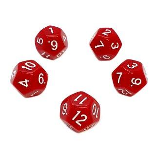 5er Set 12-Seitige Würfel Rot Zahlen 1-12