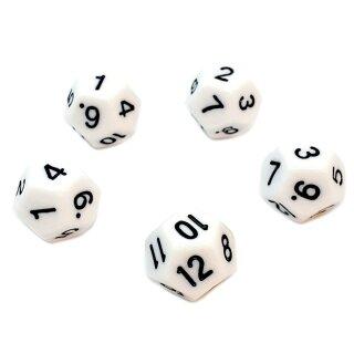 5er Set 12-Seitige Würfel Weiß Zahlen 1-12