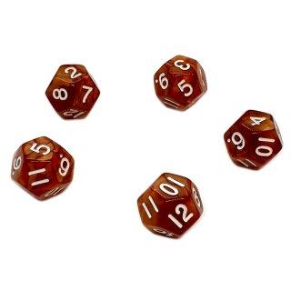 5er Set 12-Seitige Würfel Perlmut Braun Zahlen 1-12