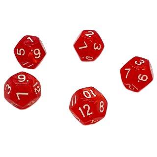 5er Set 12-Seitige Würfel Perlmut Rot Zahlen 1-12