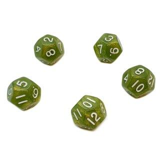 5er Set 12-Seitige Würfel Glitter Grün Zahlen 1-12