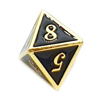 8 Seitiger Metall-Würfel Gold-Schwarz mit Zahlen