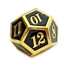 12 Seitiger Metall-Würfel Gold-Schwarz mit Zahlen 1-12