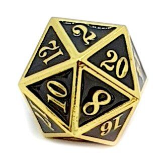 20 Seitiger Metall-Würfel Gold-Schwarz mit Zahlen 1-20