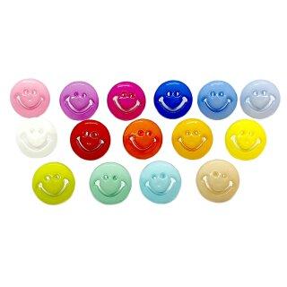 Smiley Knöpfe in bunten Farben 15mm Rund