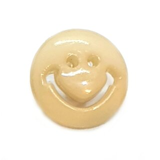 Smiley Knöpfe in Beige 15mm Rund
