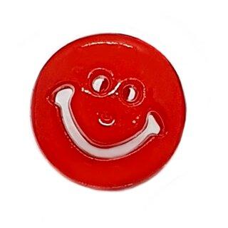 Smiley Knöpfe in Rot 15mm Rund