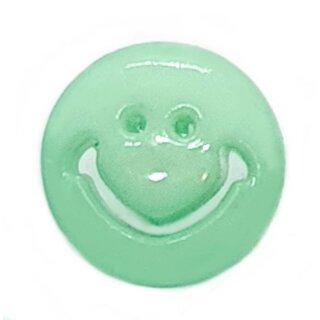 Smiley Knöpfe in Mint-Grün 15mm Rund