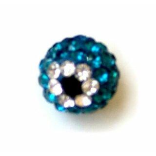 Blaue Strass-Kugel Anhänger Göz mit Strass-Steinchen