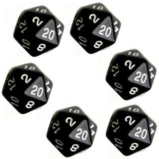 6er Set 20-Seitiger Würfel Schwarz weiße Zahlen