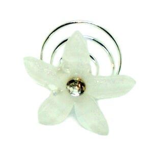 Kristall-Weiße Blumen Haarnadel / Blüten-Spirale