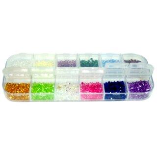 1200 bunt Strasssteine Box 6 Fächer Glitter 2-3mm
