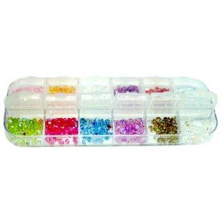 600 bunte Strasssteine Box Glitter 2-3mm bunt Vielfalt