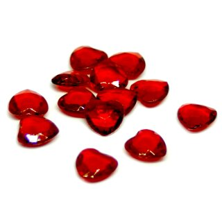 50 Herz-Steinchen Konfetti in Rot-Transparent 12mm