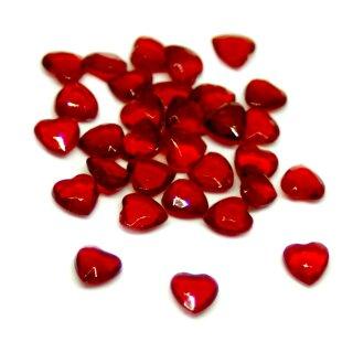 Herz-Steinchen Konfetti in Rot-Transparent 6mm x 6mm