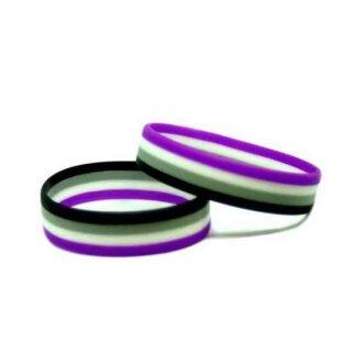 A-Sexuell-Armband Horizontal/Lila-Weiß-Schwarz