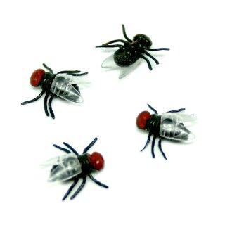 10 Künstliche-Fliegen in Rot-Schwarz 15mm * 13mm für Halloween/ Grusel