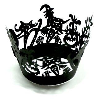 Halloween Cupcake / Muffin Pappier-Deko Schwarzer Hexenkessel