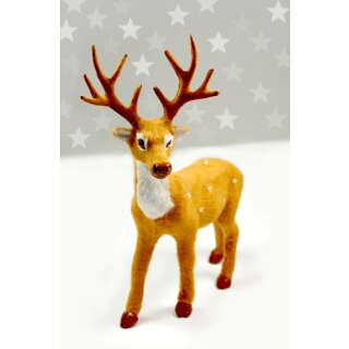 Hirsch 15cm aus Kunststoff als Weihnachtsdekoration