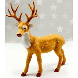 Hirsch 20cm aus Kunststoff als Weihnachtsdekoration