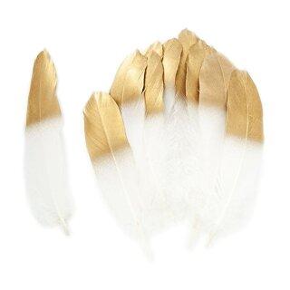 Weiß-Gold gefärbte Federn im 20er Pack 15-20cm