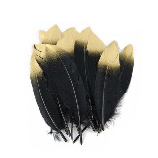 Schwarz-Gold gefärbte Federn im 20er Pack 15-20cm