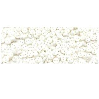 50 Mini-Knöpfe 6mm in Weiß 2-Loch Kunststoff