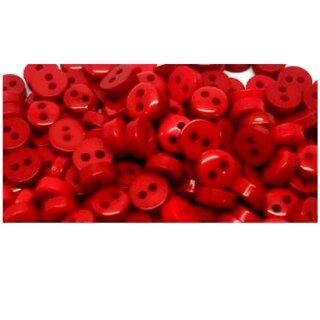 50 Mini-Knöpfe 6mm in Rot 2-Loch Kunststoff