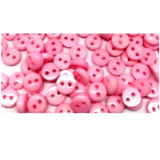 50 Mini-Knöpfe 6mm in Rosa 2-Loch Kunststoff