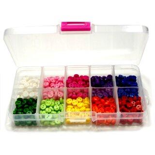Box mit 500 Mini-Knöpfen 6mm Bunt 2-Loch Kunststoff
